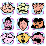 Angry doodle faces. Set of sketchy faces of people showing negative emotions Stock Photos