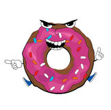 Angry doughnut cartoon Royalty Free Stock Photo