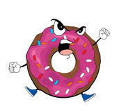 Angry doughnut cartoon Royalty Free Stock Photography