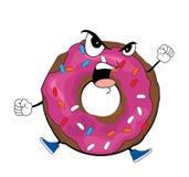 Angry doughnut cartoon. Vector illustration of angry doughnut cartoon Royalty Free Stock Photography