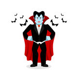 Angry Dracula. Evil Vampire. Aggressive ghoul in black cloak and Stock Photo