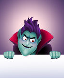Angry Dracula holding blank banner, vampire, Halloween clip art Stock Photos