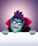 Angry Dracula holding blank banner, vampire, Halloween clip art Stock Photos