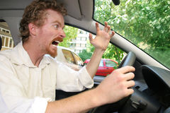 Angry driver. In the car Stock Photos