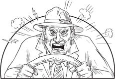 Angry Driver in Mad Road Rage. Illustration of an vintage angry driver wearing fedora hat in mad road rage viewed from front done in black and white cartoon Stock Photos