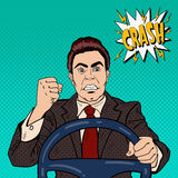 Angry Driver Man Showing his Fist Road Rage. Pop Art Stock Photography