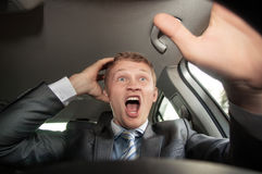 Angry driver on the road Royalty Free Stock Photo