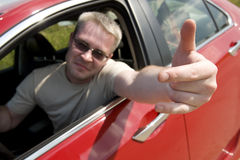 Angry driver shows gesture Royalty Free Stock Photo