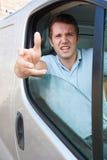 Angry Driver At Wheel Of Van Stock Image