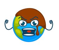 Angry Earth planet covered with layer of mud. Pollution problem agitative poster. Globe with face that express negative emotion isolated cartoon flat vector Stock Image