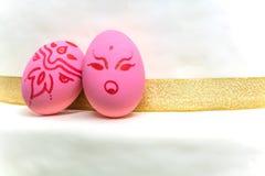 Angry easter egg, sweetly pink Stock Image