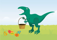 Angry Easter T rex. Cartoon character T rex. Easter dinosaur. Funny Easter illustration. Easter cartoon. Vector illustration of Easter Royalty Free Stock Photo