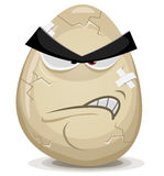 Angry Egg Character. Illustration of a cartoon angry egg character with cracks, fissure and bandage Royalty Free Stock Image
