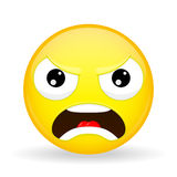 Angry emoji. Emotion of anger. Evil emoticon. Cartoon style. Vector illustration smile icon. Stock Images