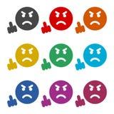 Angry emoticon, emoji icon, color icons set Royalty Free Stock Photos