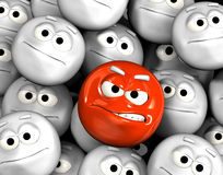 Angry emoticon face among others. Angry emoticon face among other grey, neutral, indifferent faces stock illustration