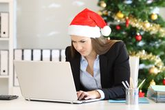 Angry employee working at office in christmas. Angry employee working on line at office in christmas time royalty free stock photography