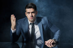 Angry employer during business conversation Royalty Free Stock Image