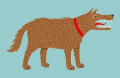 Angry evil brown dog in red collar. Vector illustration, isolated on blue background Stock Image