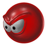Angry. Evil red smiley - 3d illustration Stock Image