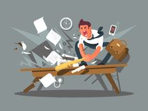 Angry and exasperated employee. Office worker smashing a table bat. Vector illustration Stock Image