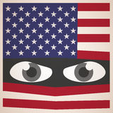 Angry Eyes with American Flag, Military Concept Royalty Free Stock Photos