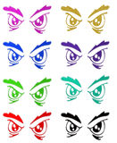 Angry eyes symbols Royalty Free Stock Photos