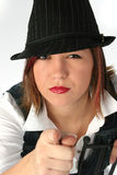 Angry Face. Beautiful woman in hat making angry face Royalty Free Stock Images