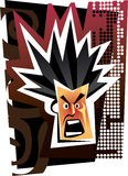 Angry face. With abstraction. Vector illustration Stock Photography