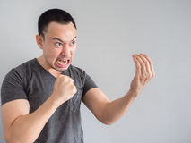 Angry face of asian man portrait. Royalty Free Stock Images