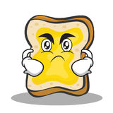 Angry face bread character cartoon. Vector illustration stock illustration