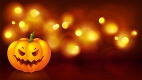 Angry face cartoon style pumpkin on yellow boken defocused backdrop, vector halloween background.  stock illustration