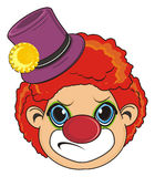 Angry face of clown. Evil face of clown on a white background Royalty Free Stock Photography