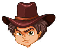 An angry face of a cowboy Stock Image