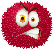 Angry face on fluffy ball Royalty Free Stock Photography