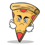Angry face pizza character cartoon. Vector illustration Stock Image