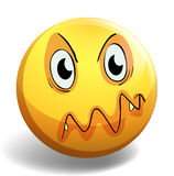 Angry face. On round yellow badge Stock Images