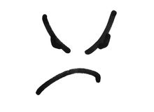 Angry face smile drawing with black marker pen isolated on white Stock Photography
