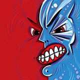 Angry face vector cartoon. Royalty Free Stock Photo