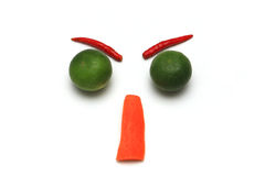Angry face with vegetable isolated. On white background stock images