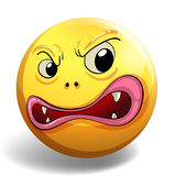 Angry face on yellow badge. Illustration Stock Image