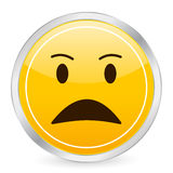 Angry face yellow circle icon Stock Photo