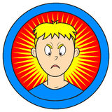 Angry. Facial expression of teenager with blond hair Royalty Free Stock Photography