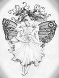 Angry fairy girl. Going to cast some magic spell. She is serious and beautiful, with long hair and butterfly wings Royalty Free Stock Photos