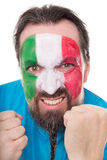 Angry Fan from Italy showing his fists Stock Photos