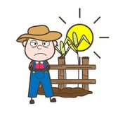 Angry Farmer in Field Vector Illustration Stock Photo