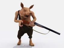 Angry farmer pig with shotgun Royalty Free Stock Image