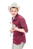 Angry farmer threatening forks on white Royalty Free Stock Photography