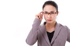 Angry female boss looking at you Stock Photos