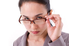 Angry female boss looking at you Royalty Free Stock Photo